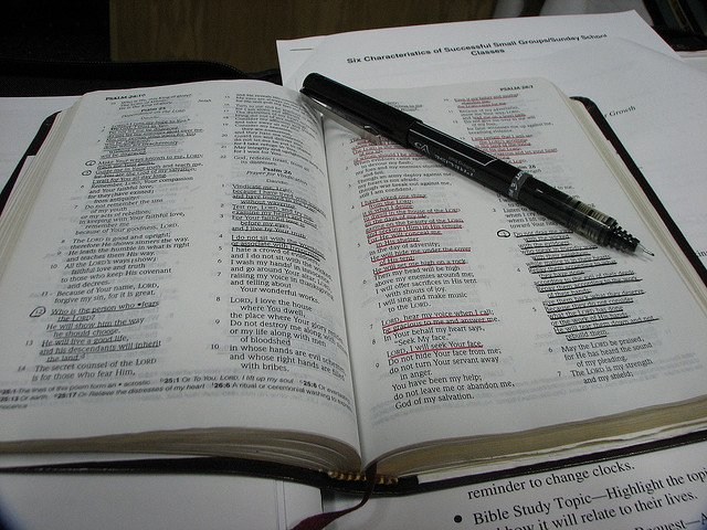 Bible with sections underlined